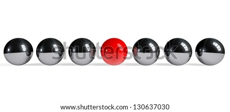 leadership Concept. Red sphere among chrome spheres on a white background - stock photo