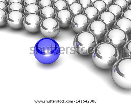 leadership Concept. sphere among chrome spheres on a white background - stock photo