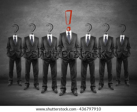 Leadership concept with crowd of businesspeople with question marks and red exclamation mark instead of heads on dark concrete background