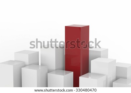 leadership concept with 3d rendered red and white buildings on white background - stock photo