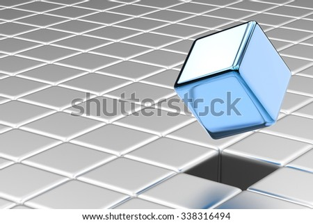 leadership concept with 3d rendering blue cubic - stock photo