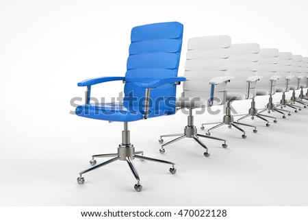 leadership concept with 3d rendering blue office chair