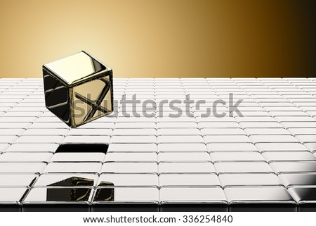 leadership concept with 3d rendering golden cubic - stock photo