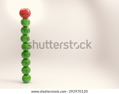 leadership concept with 3d rendering red apple on top of green apples - stock photo