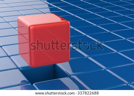 leadership concept with 3d rendering red cubic - stock photo