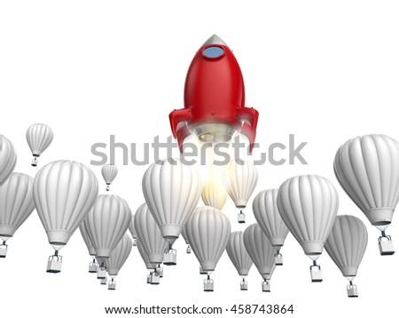 leadership concept with 3d rendering red rocket above hot air balloons - stock photo