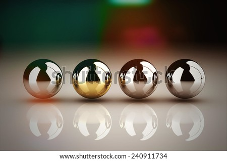Leadership concept with golden sphere and many chrome spheres - stock photo