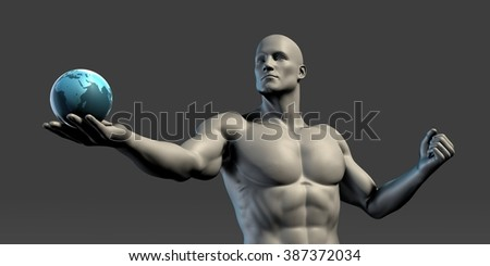 Leadership Concept with Man Holding a Globe - stock photo