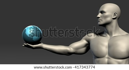 Leadership Concept with Man Holding a Globe 3D Illustration Render - stock photo