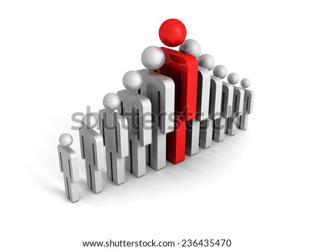 leadership concept with red big human icon figure. 3d render illustration - stock photo