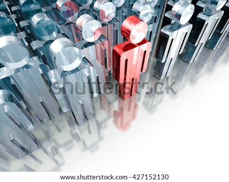 leadership concept with red big human icon figure. 3d render illustration