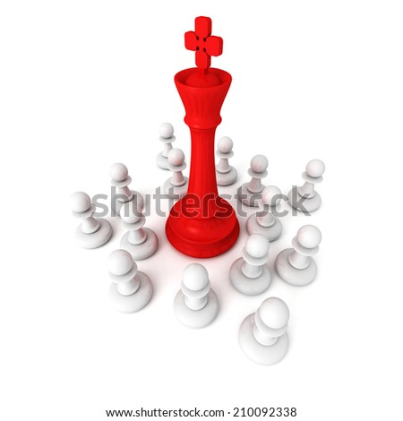 Leadership concept with red chess king and pawns. 3d render illustration - stock photo