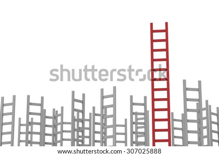 leadership concept with red ladder among grey ladders - stock photo