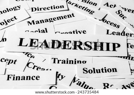 Leadership concept with some related words paper. - stock photo