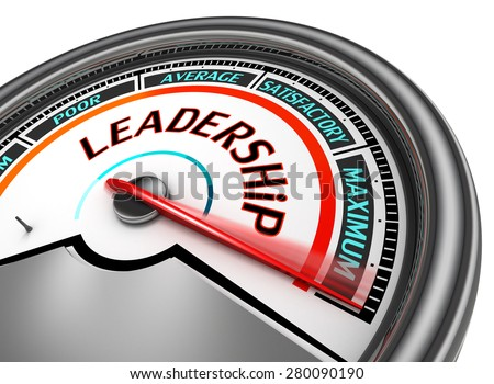 Leadership conceptual meter indicate maximum, isolated on white background - stock photo