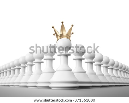 Leadership , Pawn with golden crown , 3d render - stock photo