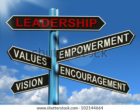 Leadership Signpost Shows Vision Values Empowerment and Encouragement - stock photo