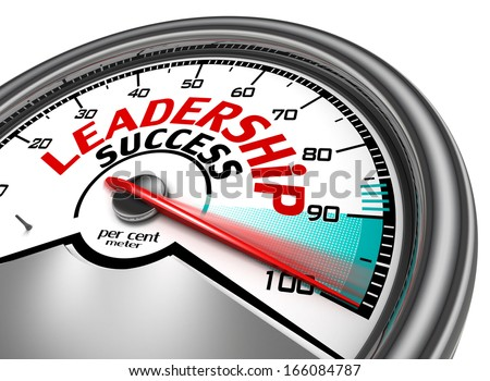 leadership success conceptual meter, isolated on white background