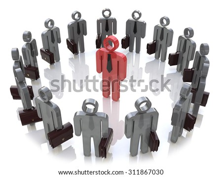 Leadership, teamwork, individuality and social media network business internet web concept: single red 3D people figure inside of group of man figures arranged in circle isolated on white - stock photo