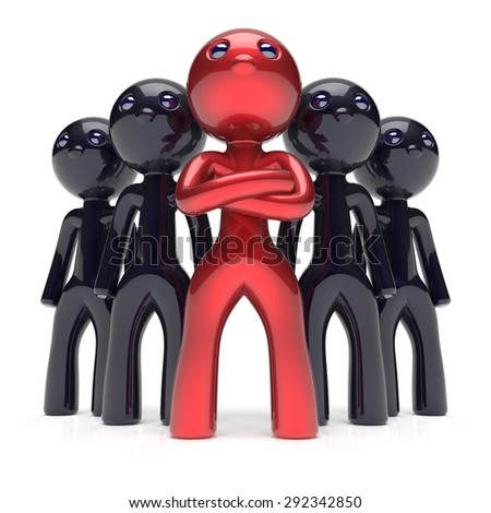 Leadership teamwork stylized red character black men crowd businessman team leader individuality five cartoon persons icon social relationship friends concept 3d render isolated - stock photo