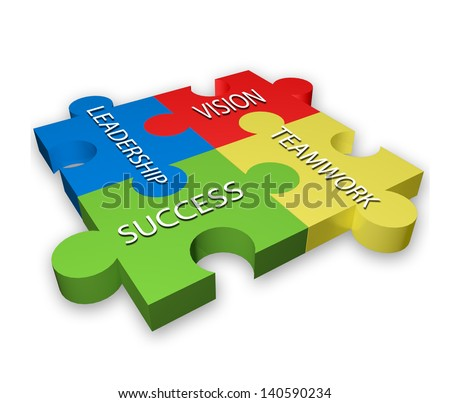 Leadership Teamwork Vision and Success on colorful puzzle pattern