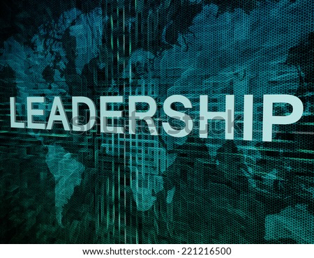 Leadership text concept on green digital world map background  - stock photo