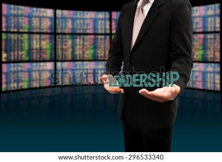 Leadership text on hands businessman. - stock photo