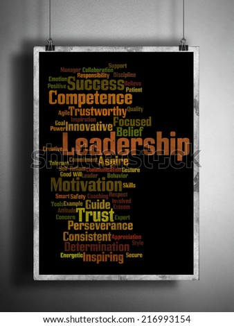 Leadership Word cloud framed on a billboard on a background with bricks :Words relating and associated with leadership qualities have been written in the form of a word cloud  hanging on a wall - stock photo