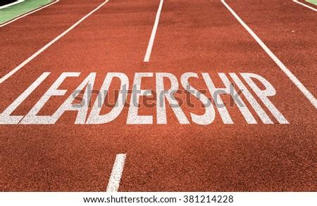 Leadership written on running track - stock photo