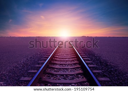 leading to the desired track in the desert - stock photo