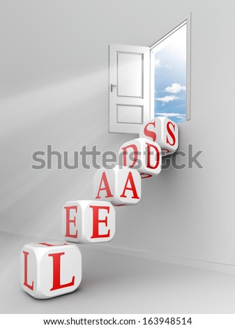 leads red word on dice blocks up to open door  - stock photo