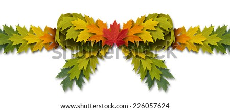 Leaf bow ribbon as an autumn leaves design element on a white background as a symbol of nature and gift giving for the holiday season. - stock photo