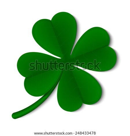 leaf clover isolated on white background - stock photo