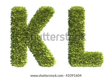 Leaf covered letters K and L - part of a full alphabet