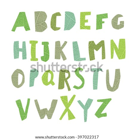Leaf Cut Alphabet.Capital letters. Good for ecology, environment, nature, organic themed designs