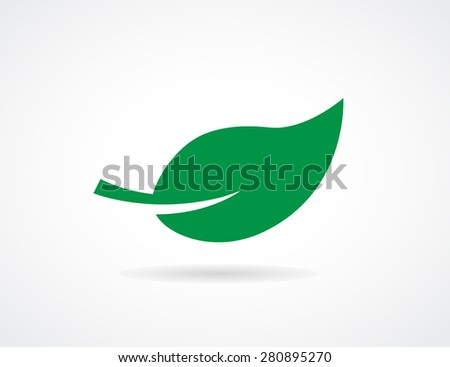 leaf design green icon - stock photo