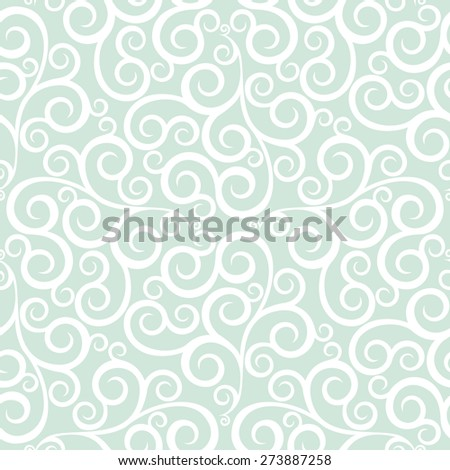 Leaf, floral pattern from curls. Green and white ornament. Seamless  background. - stock photo