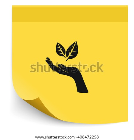 Leaf in a hand sign of environmental protection icon. Eco sign. - stock photo