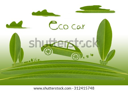 leaf in car shape , tree shape , cloud shape on gradient background. eco car. - stock photo