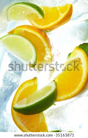 leaf mint and cut citrus in ice