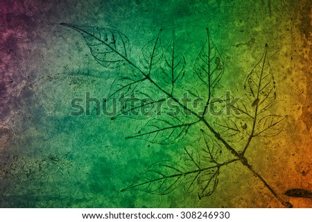 leaf print on concrete texture and background - stock photo