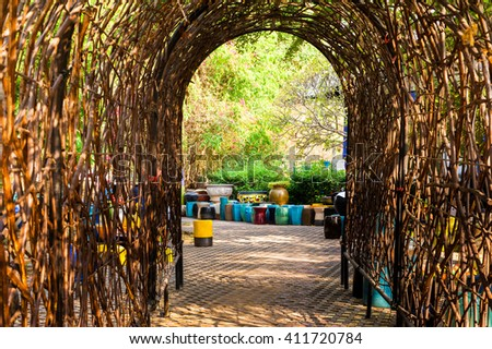 Leaf tunnel.  - stock photo