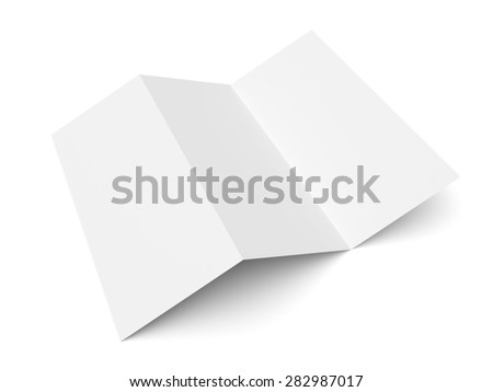 Leaflet blank trifold paper brochure mockup isolated on white background