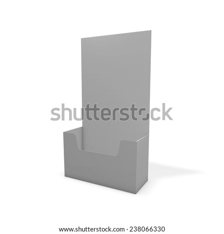 Leaflet display stand, empty copy space for marketing message, 3d illustration isolated on white render. - stock photo