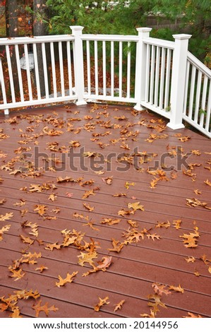 Leafs on the deck - stock photo