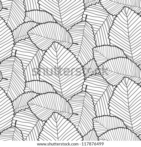 leafs pattern. black outline