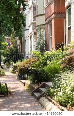Leafy DC Streets  - Dupont Circle Area - stock photo