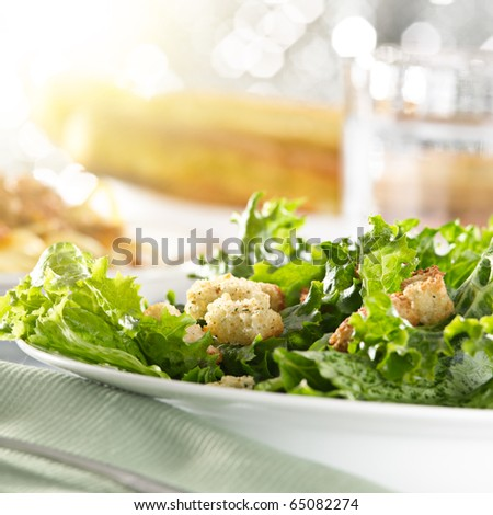 leafy green salad with croutons - stock photo