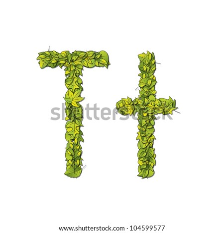 Leafy storybook font depicting a letter T in upper and lower case. Raster.