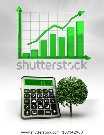 Leafy Tree Positive Business Calculations Graph Stock Illustration